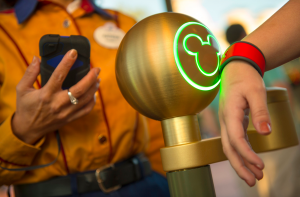 Disney's MagicBand validating admission.